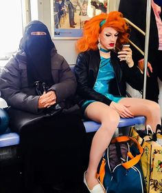 PsBattle: Trans woman and Woman wearing a niqab riding the train together in New York