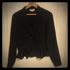 Vintage 80s Peplum Jacket Vintage peplum top with double breasted buttons up the front. Poly blend, very lightweight. Great to wear to work! Modern size 8/10 Vintage Jackets & Coats Blazers