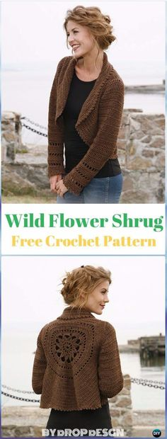 Crochet Wild Flower Shrug Free Pattern - #Crochet; Women #Shrug; Cardigan Free Patterns