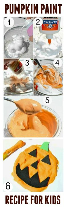 Make your own pumpkin puffy paint- this paint has such a FUN texture & dries PUFFY! Perfect for creating puffy touch and feel pumpkin art. A fun activity for Fall- hey this could be modified for any puffy paint. Theme Halloween, Halloween Activities, Autumn Activities, Art Activities, Halloween Crafts, Halloween Face, Puffy Paint, Fall Crafts For Kids, Art For Kids