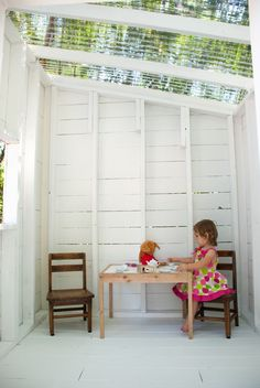"""For the """"empty space"""" in the backyard, outside the basement entryway! Outside but inside on a rainy day, how fun! Outside Playhouse, Backyard Playhouse, Build A Playhouse, Backyard Playground, Playhouse Ideas, Playhouse Interior, Outdoor Play Spaces, Kids Outdoor Play, Outdoor Fun"""