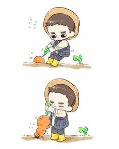 Kyungsoo and carrot sehun 1 # Exo Exo Cartoon, 5 Years With Exo, Cute Bunny Pictures, Exo Anime, Kyungsoo, Exo Fan Art, Exo Lockscreen, Fanarts Anime, Cute Comics