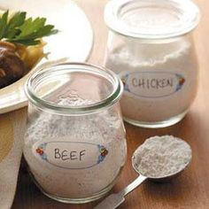 Ready Dry Gravy Mix - Beef or Chicken - this dry mix keeps for about six months - I add 1 tsp of garlic powder and 1 tsp of onion powder to each mix. Such a time saver.