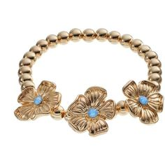 LC Lauren Conrad Flower & Bead Stretch Bracelet (Blue) ($7.20) ❤ liked on Polyvore featuring jewelry, bracelets, blue, imitation jewelry, blue bangles, beaded jewelry, beaded stretch bracelet and bead bracelet