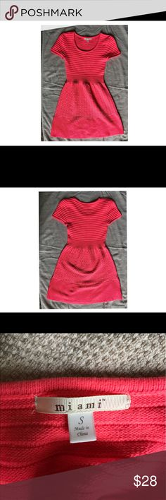 Hot pink shirtsleeve dress Hot pink dress, made out of sweater material. Material is a little thick, but perfect for spring or summer. Dress looks really good with a tan, but looks so nice on all skin tones. Runs true to size. Francesca's Collections Dresses Mini