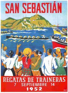 Vintage Travel Posters, Vintage Postcards, Vintage Advertisements, Vintage Ads, San Sebastian Spain, Railway Posters, Best Memories, Illustrations Posters, Retro