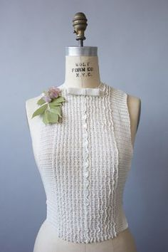 """1930's ivory crochet dickie featuring crochet pin tucks and a sweet little  row of buttons down the """" placket """". Measures 10.5 """" x 19.5"""""""