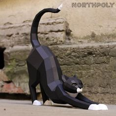 Paper art model of the Cat Good morning of 450 х 500 х 115 mm. 60 parts on 9 pages To… 3d Paper Crafts, Paper Toys, Paper Clay, Cardboard Sculpture, Sculpture Art, Paper Sculptures, Cardboard Art, Polygon Art, Paper Animals