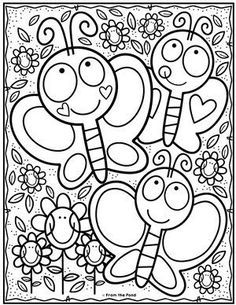 Kindergarten coloring pages - Coloring Club — From the Pond Spring Coloring Pages, Cute Coloring Pages, Disney Coloring Pages, Printable Coloring Pages, Adult Coloring Pages, Free Coloring, Coloring Pages For Kids, Coloring Sheets, Coloring Books