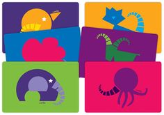 Designer Placemats for Kids - Abstract Zoo - Set of 6 Placemats For Round Table, Kids Poster, Dining Table In Kitchen, Table Linens, How To Look Better, Kids Rugs, Abstract, Projects, Design