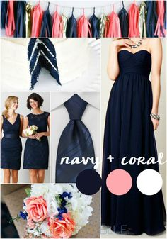 wedding colors Searching for the perfect nautical wedding color palette Navy bridesmaid dresses with coral accents are a gorgeous choice. Navy and coral wedding palette. Nautical Wedding, Blue Wedding, Dream Wedding, Blue Bridal, Trendy Wedding, Summer Wedding, Wedding Flowers, Navy Bridesmaid Dresses, Bridal Dresses