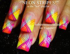 Neon Stripes Nail Art Design!