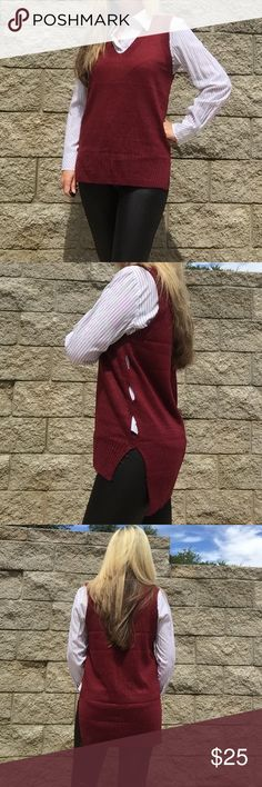 "🆕 Burgandy Sweater Vest V-neck Sweater Vest  Sweater Vest High / Low as back is longer than the front  Has a braided pattern on back . Cotton material 3 cut out holes on each side of sweater. New in package  One size but would fit a medium. Has sizing under medium for search reference    ✨ 19"" bust ✨ 25.5"" length Boutique Sweaters V-Necks"