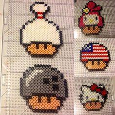 Mario mushrooms perler beads by herrerablur_
