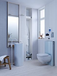 Geberit European Toilet Systems Save Water and Space. The Geberit Monolith comes in two versions: an in-wall system compatible with a wall-hung toilet (shown here), and a floor-mounted version compatible with existing floor-mounted toilet plumbing.