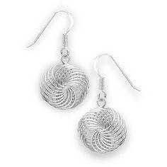 Sterling Silver Spiral Wire Wrap Dangle Earrings