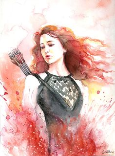Watercolor painting - Hunger Games Catching Fire Katniss - Jennifer Lawrence on Etsy, $22.00