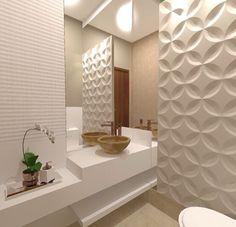 Banheiro com revestimento 3D na parede #bathroom #homedecor #interiordesign #decoração