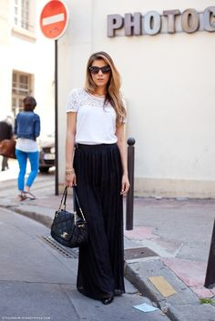 I'm convinced I could never pull off a long maxi skirt...but I loooove the way it looks. So simple, yet so sophisticated.