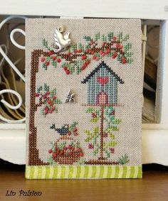 Cross Stitch and Cross Stitch House, Small Cross Stitch, Cross Stitch Finishing, Cross Stitch Bird, Cross Stitch Samplers, Cross Stitch Flowers, Cross Stitch Designs, Cross Stitching, Cross Stitch Embroidery