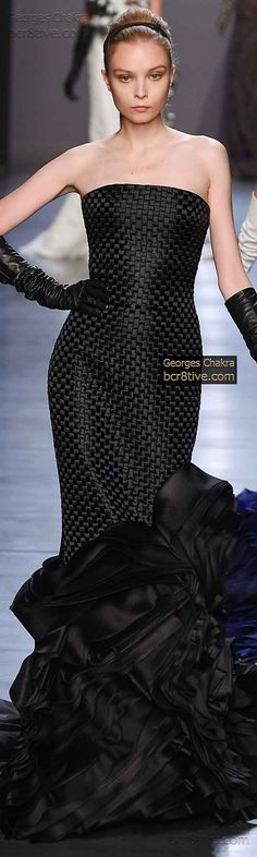 Black Strapless Ruffled Georges Chakra Fall Winter 2014-15 Haute Couture Collection