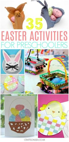 Need some inspiration for Easter? We've got 35 Easter activities for preschoolers including sensory play, printables, handprint crafts, sheep, chicks and tons of cute bunny crafts -fun and easy ideas to keep your kids happy! #easter #preschool #eastercrafts #kidsactivities #preschoolers