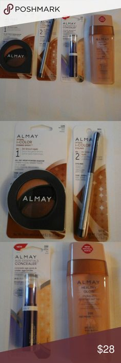 Almay Makeup Bundle Makeup bundle of four Almay products. The bundle includes and eyeshadow trio in 145 Browns,  eyeliner in 001 in Black Amethyst, Age Essentials concealer in 200 Light/Medium Almay Makeup