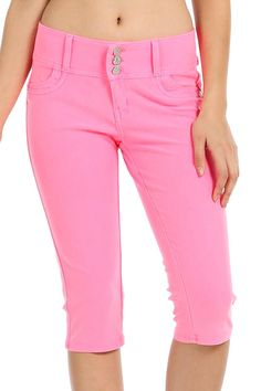SOLID THREE BUTTON CLOSURE CAPRI PANTS-Pink