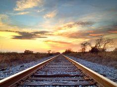 Sunset over Mississippi Delta Railroad Tracks - near Baird, Mississippi - Order prints from www.flatoutdelta.com -  © 2013 John Montfort Jones