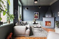 [Interior] 41 m² con paredes en azul plomo como protagonista