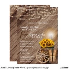 Shop Rustic Country with Wood Barrel and Sunflowers Invitation created by DesignsbyDonnaSiggy. Country Wedding Invitations, Wedding Menu Cards, Wedding Invitation Templates, Zazzle Invitations, Invitation Design, Sunflowers, Colorful Backgrounds, Rustic Wedding