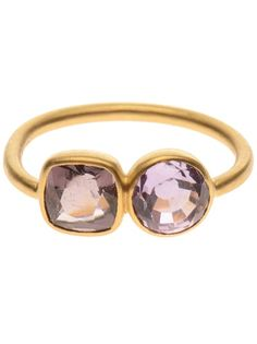 MARIE HELENE DE TAILLAC 22K Gold Ring With Double Precious Stones