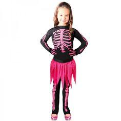 Disfraz esqueleto huesos rosa.