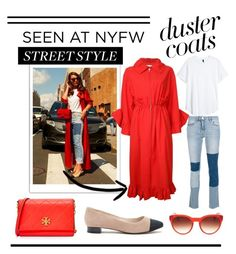 """Lady in Red: Street Style"" by veronicaward-1 ❤ liked on Polyvore featuring Victoria, Victoria Beckham, Goen.J, Tory Burch, Oliver Peoples and Sole Society"
