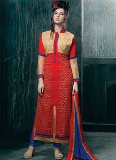 Blooming Red And Blue Embroidery With Sequins Work Churidar Suit