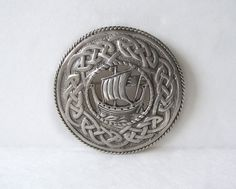 Antique Sterling Silver Celtic Brooch Viking Longship Ship Boat Celtic Knot HW&S Scotland Edinburgh by MargsMostlyVintage on Etsy