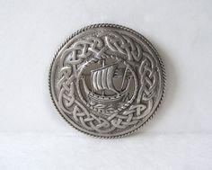 Antique Sterling Silver Celtic Brooch Viking Longship Ship Boat Celtic Knot HW&S Scotland Edinburgh by MargsMostlyVintage on Etsy