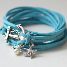 Anchor Wrap Bracelet Starfish Bracelet pearl by pier7craft on Etsy, $9.50