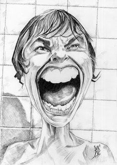 """Caricature of Janet Leigh in Iconic shower scene from """"Psycho."""" this is Jamie Lee Curtis' mother! Character Drawing, Character Illustration, Character Design, Illustration Art, Animation Character, Character Sketches, Funny Caricatures, Celebrity Caricatures, Janet Leigh"""