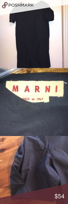 Marni Dark Blue Cotten Dress Gorgeous dark blue light cotton Marni dress.  Short single pleat slightly tapered sleeves as well as front pockets at the low waistline.  Slightly tapered in at the bottom for a classic Marni fit.  Beautiful tailoring that is simple but just right for a modern feel.  Worn once but in excellent condition. Marni Dresses Midi
