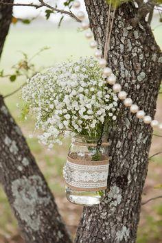 Lace, baby's breath and burlap - oh my! #rustic #weddingideas {Photo: Addison Studios; Floral Designer:@poseyevents}