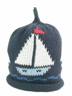 47d1dd349aa Merry Berries navy with sailboats baby hat months