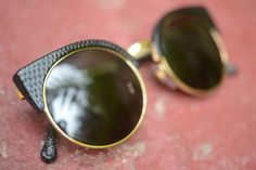 Lucia in Metal & Black Lizard sunglasses