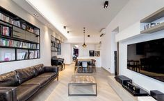 riverpark - contemporary - living room - hong kong - Ample DESIGN --- like the bookshelf on the wall