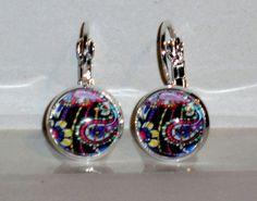 Ohrringe Paisley Damen Hänger Ohrschmuck Modeschmuck ohne Stein Glas Cabochon