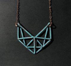 Copper Geometric Necklace - Art Deco Revival Necklace - Crossbeam Truss Design - handmade copper jewelry on Etsy, $40.00