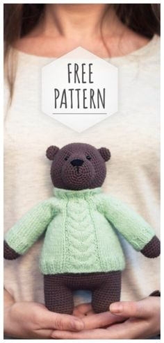 Mesmerizing Crochet an Amigurumi Rabbit Ideas. Lovely Crochet an Amigurumi Rabbit Ideas. Crochet Teddy, Cute Crochet, Crochet Dolls, Crochet Bear Patterns, Amigurumi Patterns, Crochet Animals, Knitting Projects, Crochet Projects, Stuffed Animal Patterns