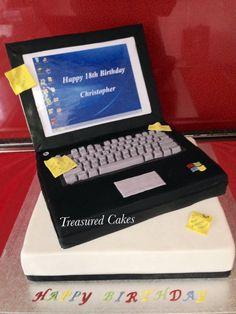Laptop cake made for a friends son. #treasuredcakes #computercake #laptop cake