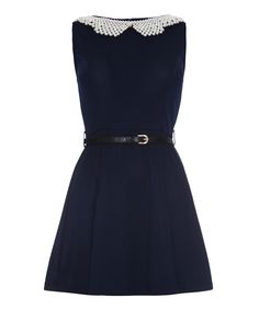 Retro Navy & White Belted Sleeveless Dress
