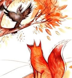 The fox and the raven. Illustration by Emma SanCartier Illustration.